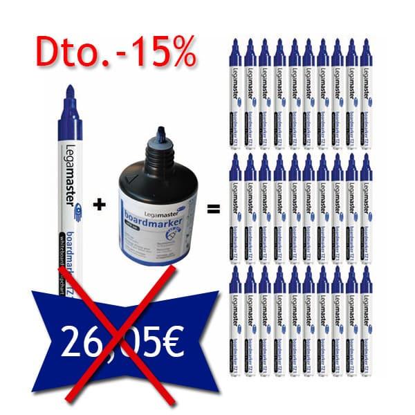 Pack 10 Rotuladores TZ 1 + 1 Bote Tinta 100ml. Color Azul